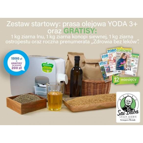 Zestaw startowy: prasa olejowa Yoda 3+ oraz gratisy