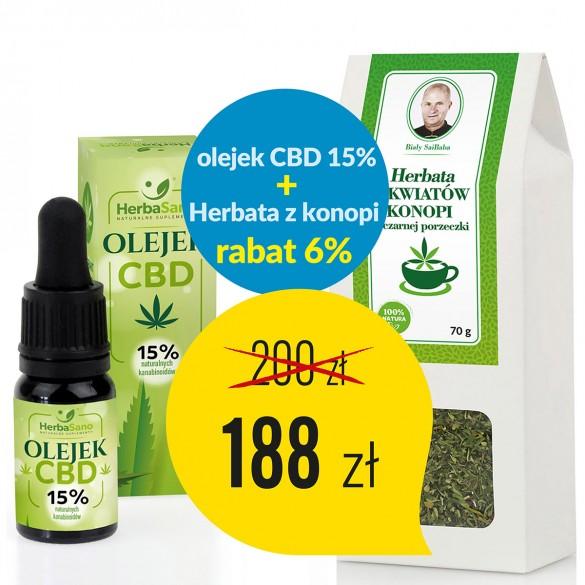 Zestaw Olejek CBD 15 % + Herbata z kwiatów konopi i czarnej porzeczki